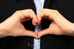 Man Is Showing Love Sign From Hands Stock Photos