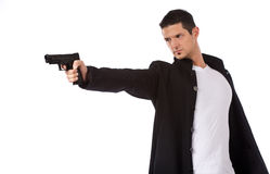 Man isolated on white aiming a hand gun Royalty Free Stock Image