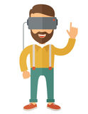 Man with isometric virtual reality headset Stock Images