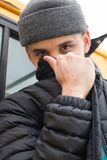Jacket Covered Face royalty free stock image