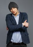 Man in jacket and hat Royalty Free Stock Image