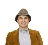 Man in Jacket and Hat Smiling Square Stock Photo