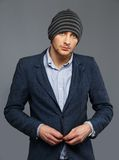 Man in jacket and hat Royalty Free Stock Images