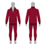 Man in jacket, jeans. Full length man`s grey silhouette figure in a burgundy jacket with zipper and skinny jeans template front & back view Stock Images