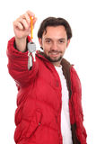 Man in the jacket with keys Stock Images