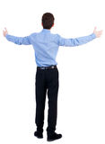 Man in a jacket raised his hands in praye Royalty Free Stock Photography