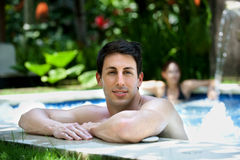 Man In Jacuzzi Royalty Free Stock Photos