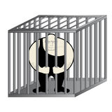 Man in jail. Fat man imprisoned in jail Royalty Free Stock Image