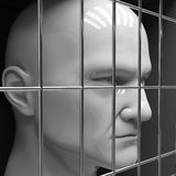 Man in jail. Man behind bars in jail. Restriction of freedom Royalty Free Stock Photo