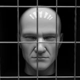 Man in jail. Man behind bars in jail. Restriction of freedom Royalty Free Stock Photos