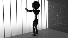 Man in jail behind bars #3 Stock Image
