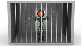 Man in jail behind bars #1 Royalty Free Stock Photos