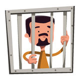 Man in jail holding bars  illustration cartoon character Royalty Free Stock Photography