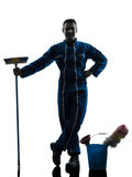 Man janitor cleaner cleaning silhouette Stock Images