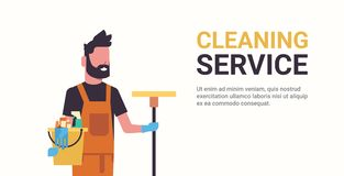 Man janitor holding bucket with tools and mop cleaning service concept smiling male worker portrait horizontal copy. Space flat vector illustration royalty free illustration