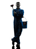 Man janitor plumber  silhouette Royalty Free Stock Photography