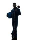 Man janitor plumber  silhouette Royalty Free Stock Image