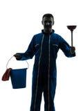 Man janitor plumber  silhouette Stock Photo