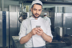 Man japanese restaurant chef working in the kitchen Royalty Free Stock Photo