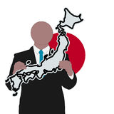Man with Japanese sign Royalty Free Stock Images