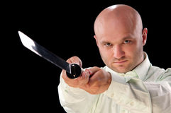 Man with a Japanese sword Stock Image
