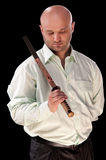Man with a Japanese sword Stock Images