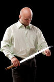 Man with a Japanese sword Stock Photos