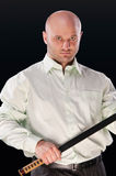 Man with a Japanese sword Royalty Free Stock Images