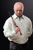Man with a Japanese sword Royalty Free Stock Photography