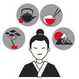 Man japanese traditional clothes symbol icons Stock Photo