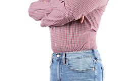 Man in jeans and shirt is standing on white background royalty free stock image