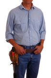 Man in jeans & toolbelt Stock Images