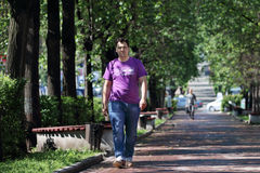 Man in jeans walk in park with green trees Royalty Free Stock Image