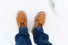 Man in jeans on winter Stock Image