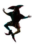 Man in jester costume silhouette jumping Stock Photos