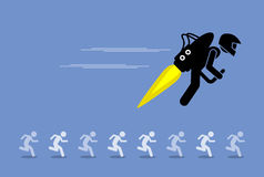 Man with jet pack flying ahead of everybody else. Vector artwork depicts advancing, moving forward, beating competitors, and competitive advantage Royalty Free Stock Photo