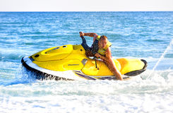 Man on jet ski. Riding Royalty Free Stock Photography