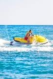 Man on jet ski. On blue sea Stock Images