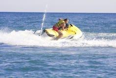 Man on jet ski. On blue sea Royalty Free Stock Photography