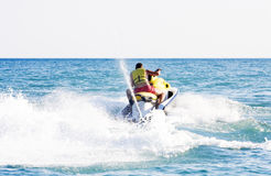 Man on jet ski. On blue sea Royalty Free Stock Images