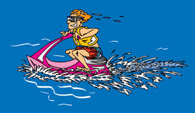 Man on Jet Ski. Win blue water Stock Images