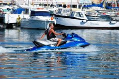 Man on jet ski, Fuengirola. Royalty Free Stock Images