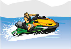 Man on jet Ski. On the lake vector illustration Stock Photos