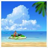 Man on the jet ski. A man rides his jet ski through the sea along tropical beach. Flat design. Vector illustration.r Royalty Free Stock Images