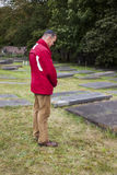 Man by Jewish cemetery Royalty Free Stock Photography