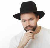 Man in the Jewish hat kneych. Royalty Free Stock Photos