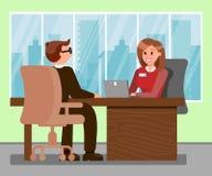 Man at Job Interview Color Vector Illustration royalty free illustration