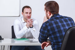Man in job interview. Man at the office in job interview stock image