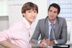 Man at a job interview. Young men at a job interview Royalty Free Stock Photography