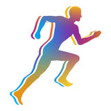 Man Jogging. Gradient Color Silhouette of Man Jogging - Vector Illustration Royalty Free Stock Image